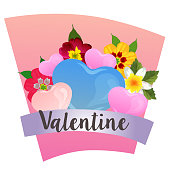 colorful valentine with love and flower