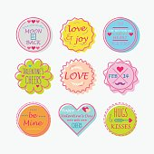 Colorful Valentine's day tags and labels set on white background