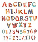 Colorful vector abstract alphabet with numbers and symbols.