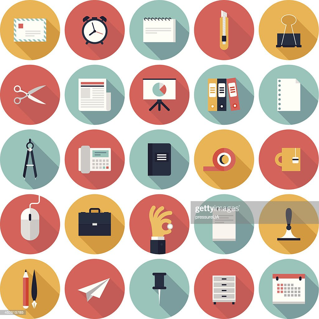Colorful vector business office flat icon set
