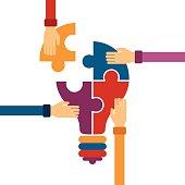 A colorful vector concept of creative teamwork