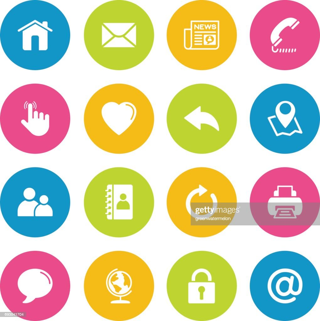 Colorful Vector Contact us-16 Icons