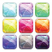 Colorful vector crystal square buttons