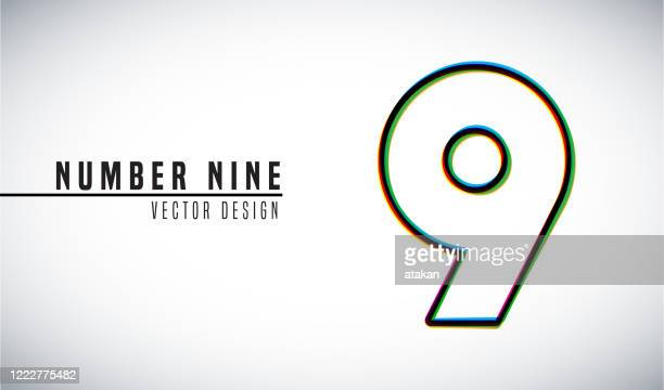 colorful vector design concept. number 9 - number 9 stock illustrations