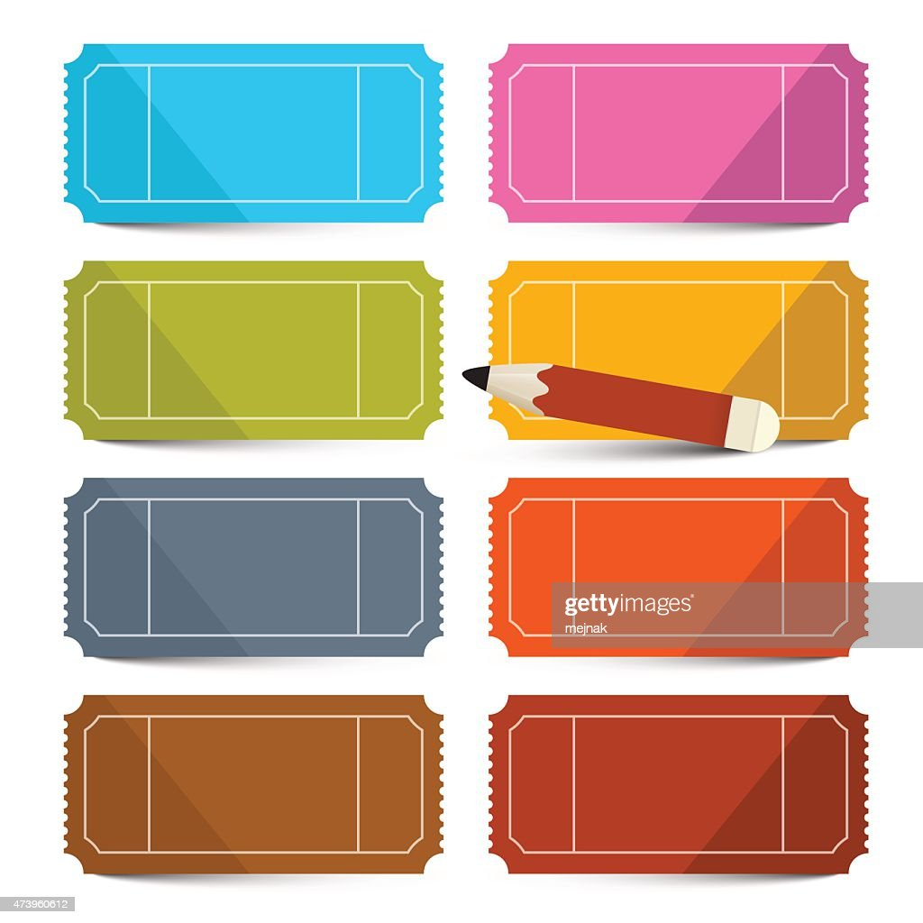 Colorful Vector Empty Tickets Set