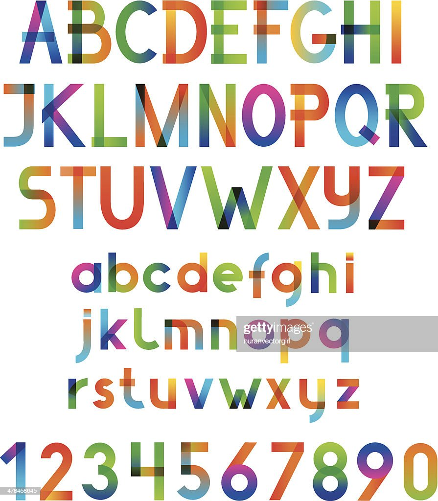 Colorful vector font and numbers.