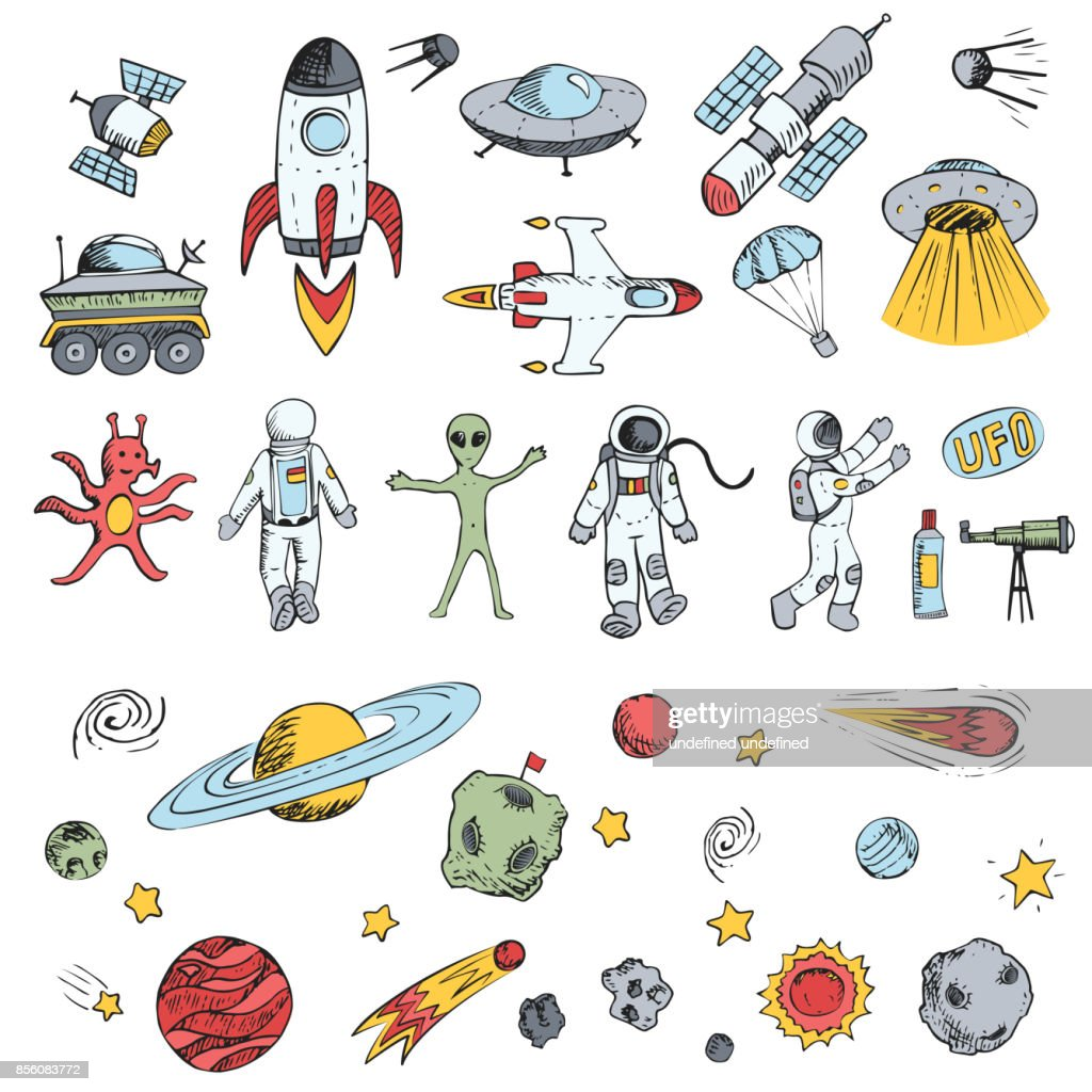 Colorful vector hand drawn doodles cartoon set space objects. Space ships, rockets, planets, flying saucers, cosmonauts, stars, comets, satellites, ufo etc.
