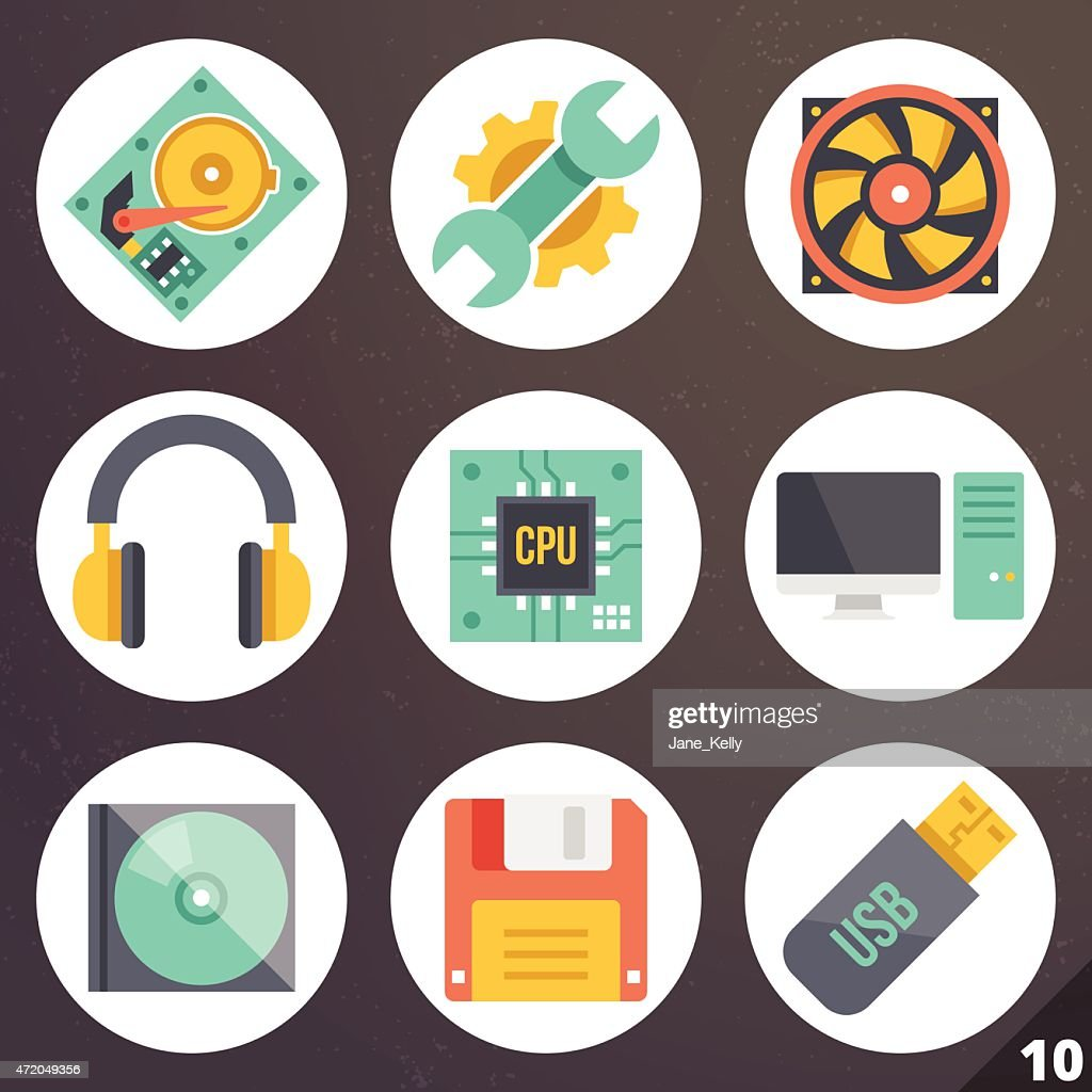 Colorful vector icons for web and mobile applications. Set 10