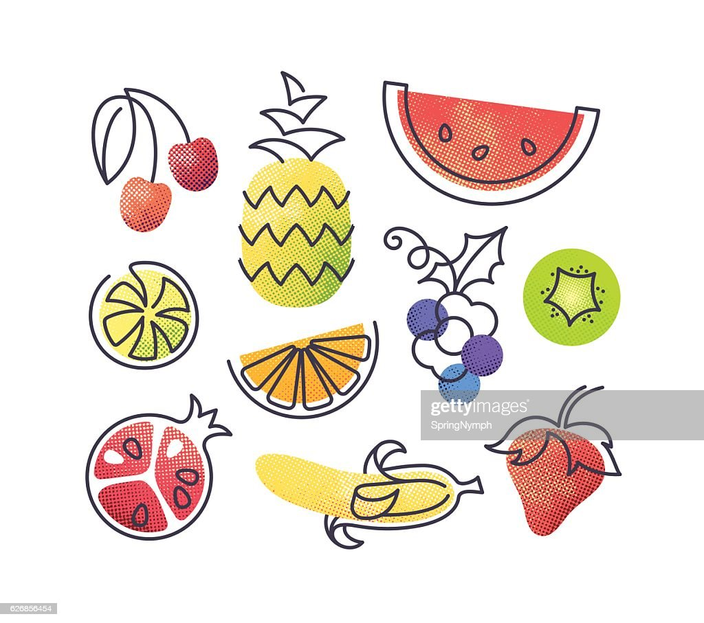 Colorful vector icons' set of fruits.