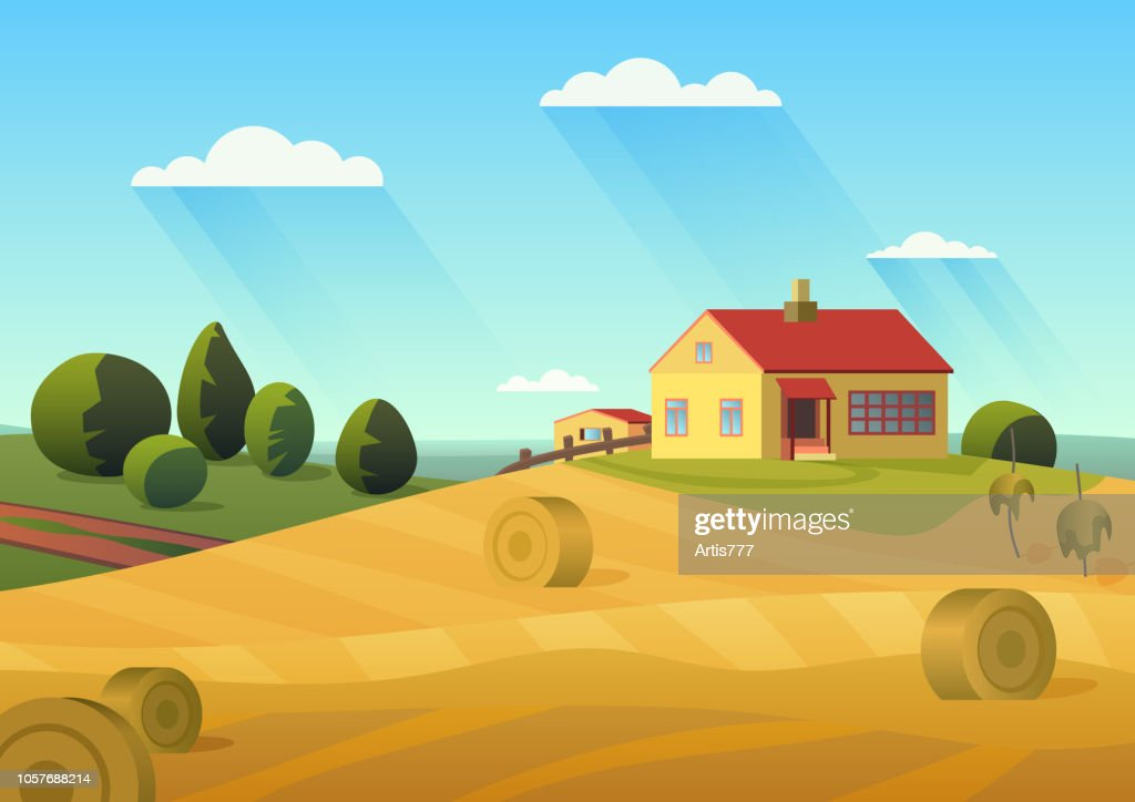 Colorful vector illustration of farmhouse in countryside with golden haystacks and blue sky.