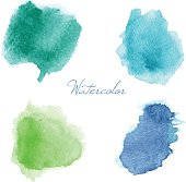 Colorful vector isolated watercolor paint stamps. - Illustration