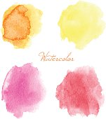 Colorful vector isolated watercolor paint stamps