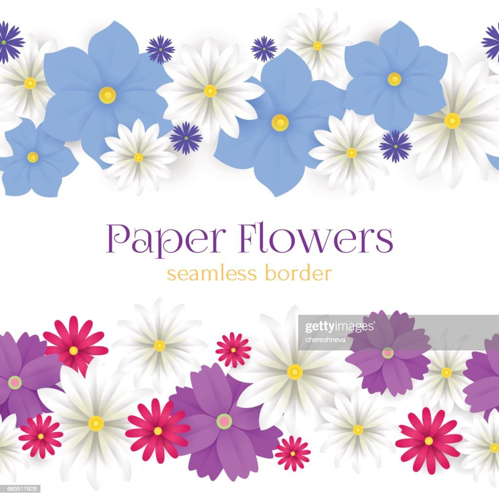 Colorful Vector Paper Flowers Horizontal Seamless Borders