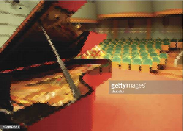 colorful vector piano in concert hall background