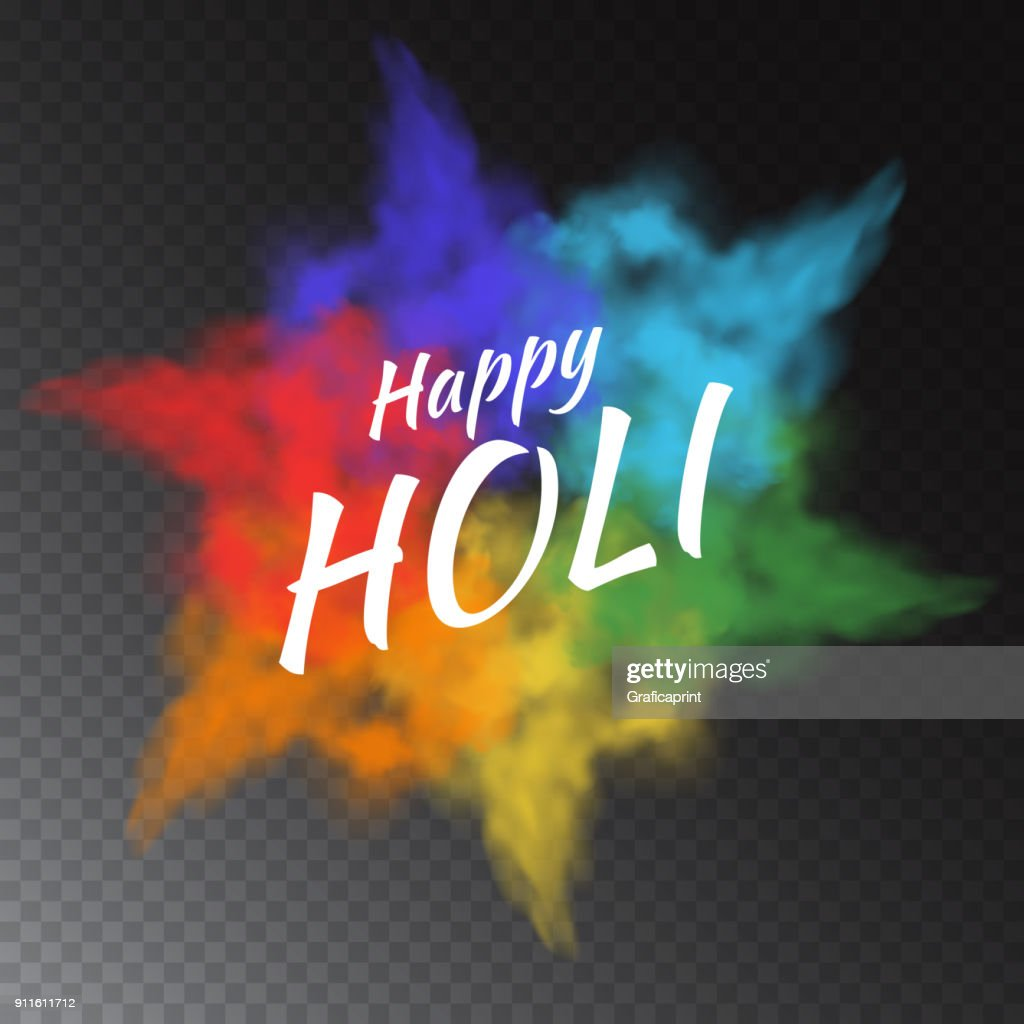 Colorful vector powder paint clouds isolated on transparent background for greeting cards to Happy Holi - indian festival of colors