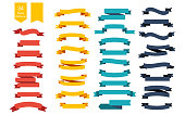 Colorful Vector Ribbon Banners. Set of 34 ribbons