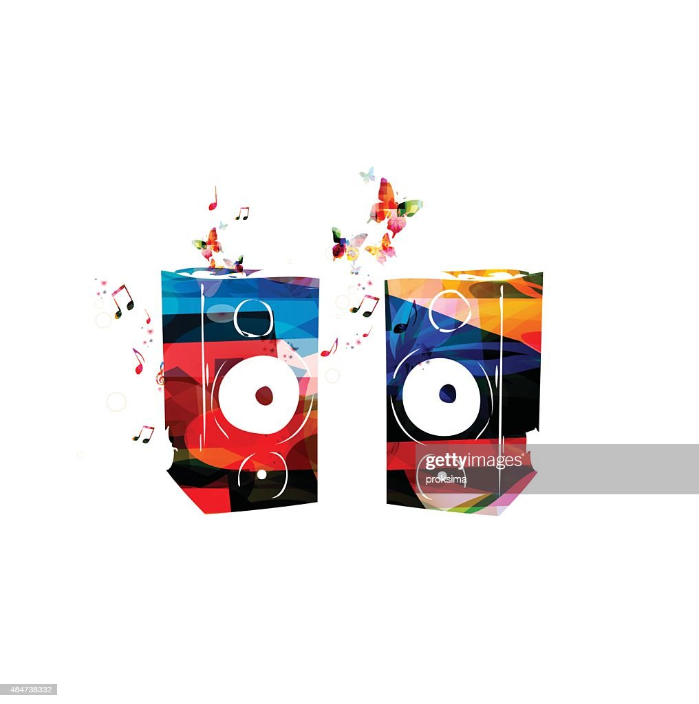 Colorful vector speakers background with butterflies