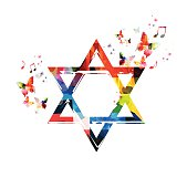 Colorful vector Star of David symbol with butterflies