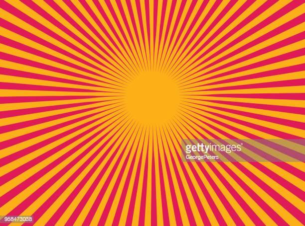 colorful vector sunburst - lens flare stock illustrations