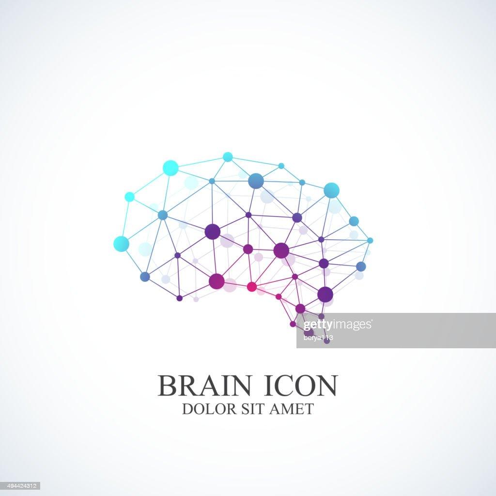 Colorful Vector Template Brain icon. Creative concept design
