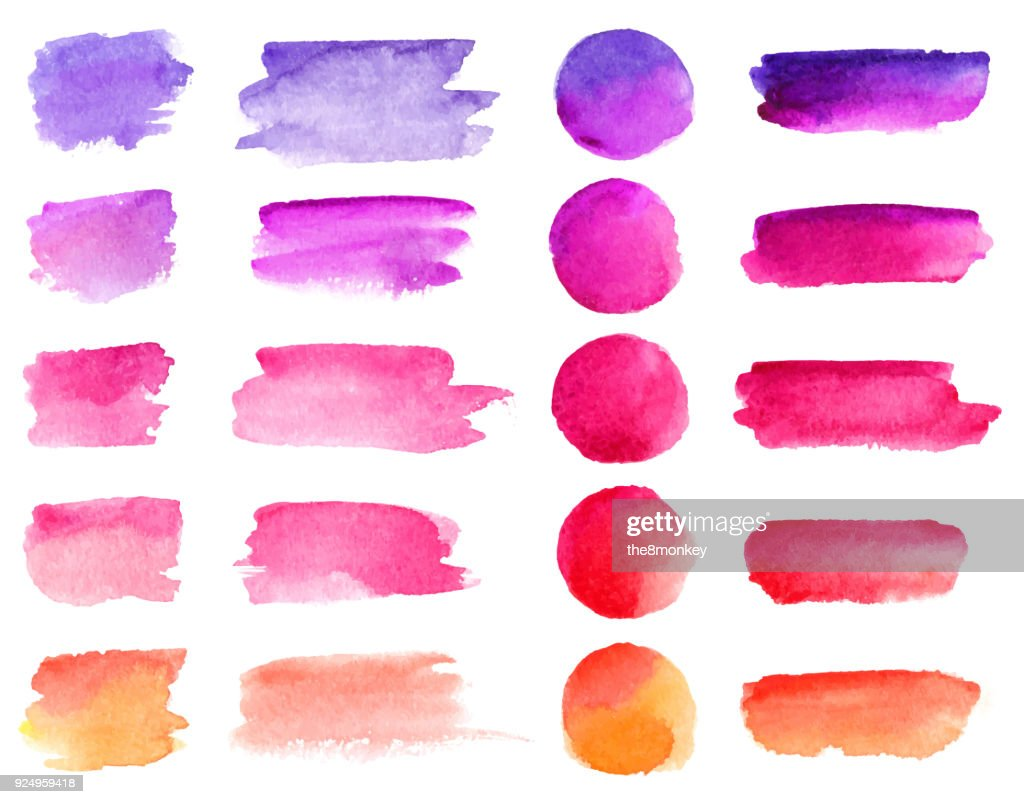 Colorful vector watercolor brush strokes. Rainbow colors watercolor paint stains vector banner backgrounds set