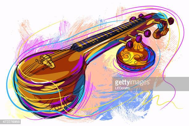 colorful veena - musical instrument stock illustrations, clip art, cartoons, & icons