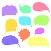 Colorful vetor speech or thought bubbles set
