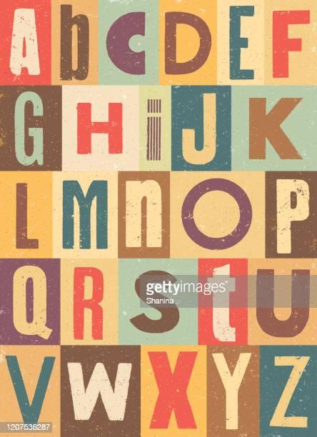 ilustrações, clipart, desenhos animados e ícones de alfabeto vintage colorido - abc