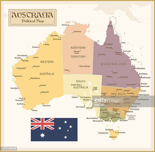 Colorful vintage map of Australia with divided regions