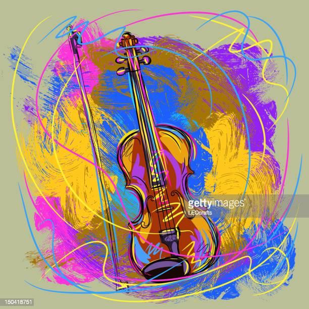 colorful violin - violin stock illustrations, clip art, cartoons, & icons