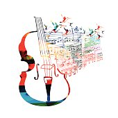 Colorful violoncello design with hummingbirds