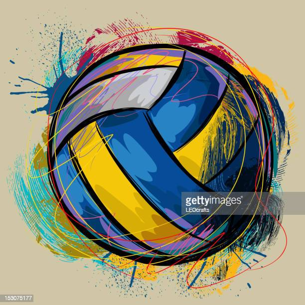 bunte volleyball - volleyball mannschaftssport stock-grafiken, -clipart, -cartoons und -symbole