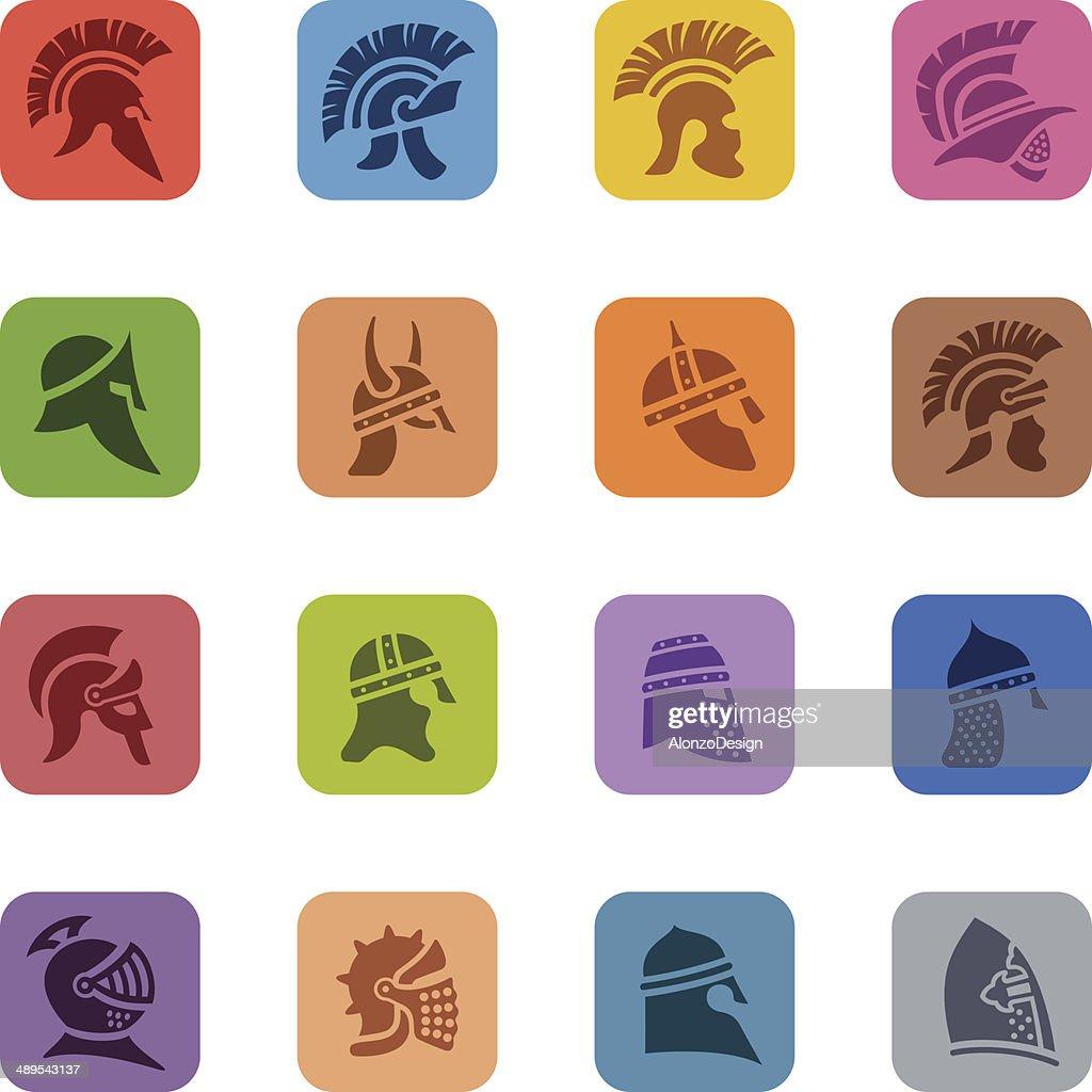 Colorful Warrior Helmet Icon Set