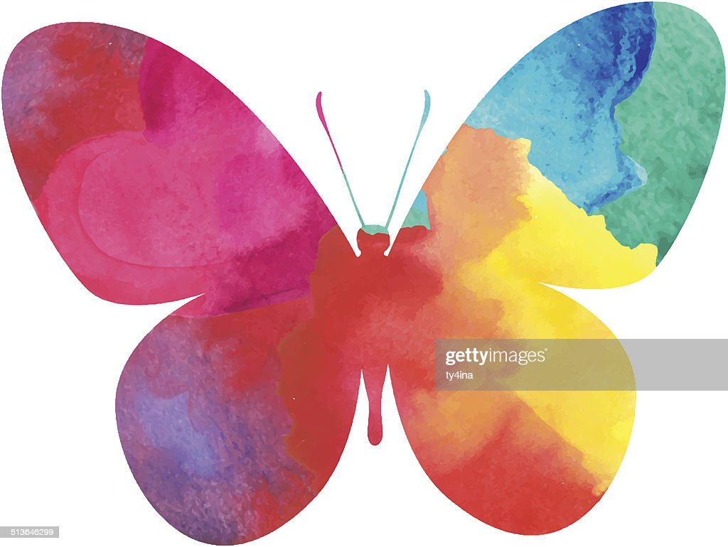 colorful watercolor butterfly