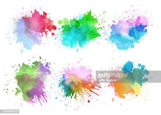 bunte aquarell spritzer - spritzendes wasser stock-grafiken, -clipart, -cartoons und -symbole