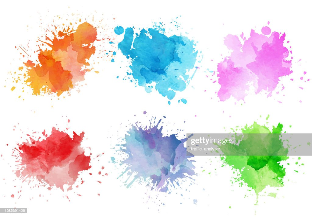 Bunte Aquarell Spritzer : Stock-Illustration