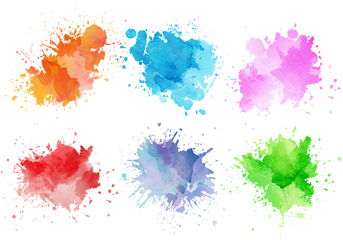 Colorful watercolor splashes - gettyimageskorea