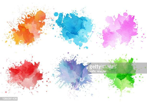 colorful watercolor splashes - paint textures stock illustrations