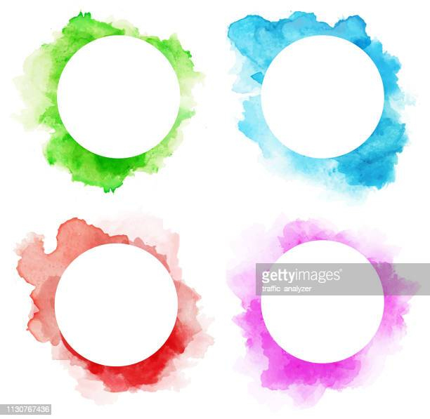 colorful watercolor splashes - watercolor circle stock illustrations