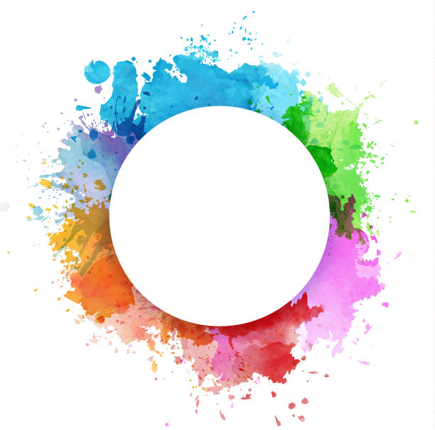 colorful watercolor splashes - rainbow stock illustrations