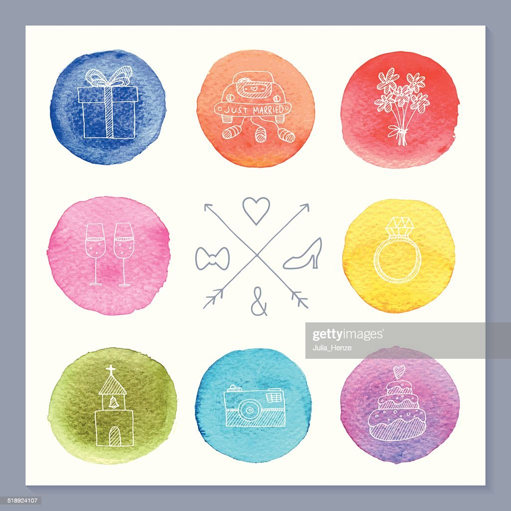 Colorful watercolor template with wedding symbols