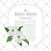 Colorful watercolor texture vector nature botanic garden memo frame white dogwood cornus florida