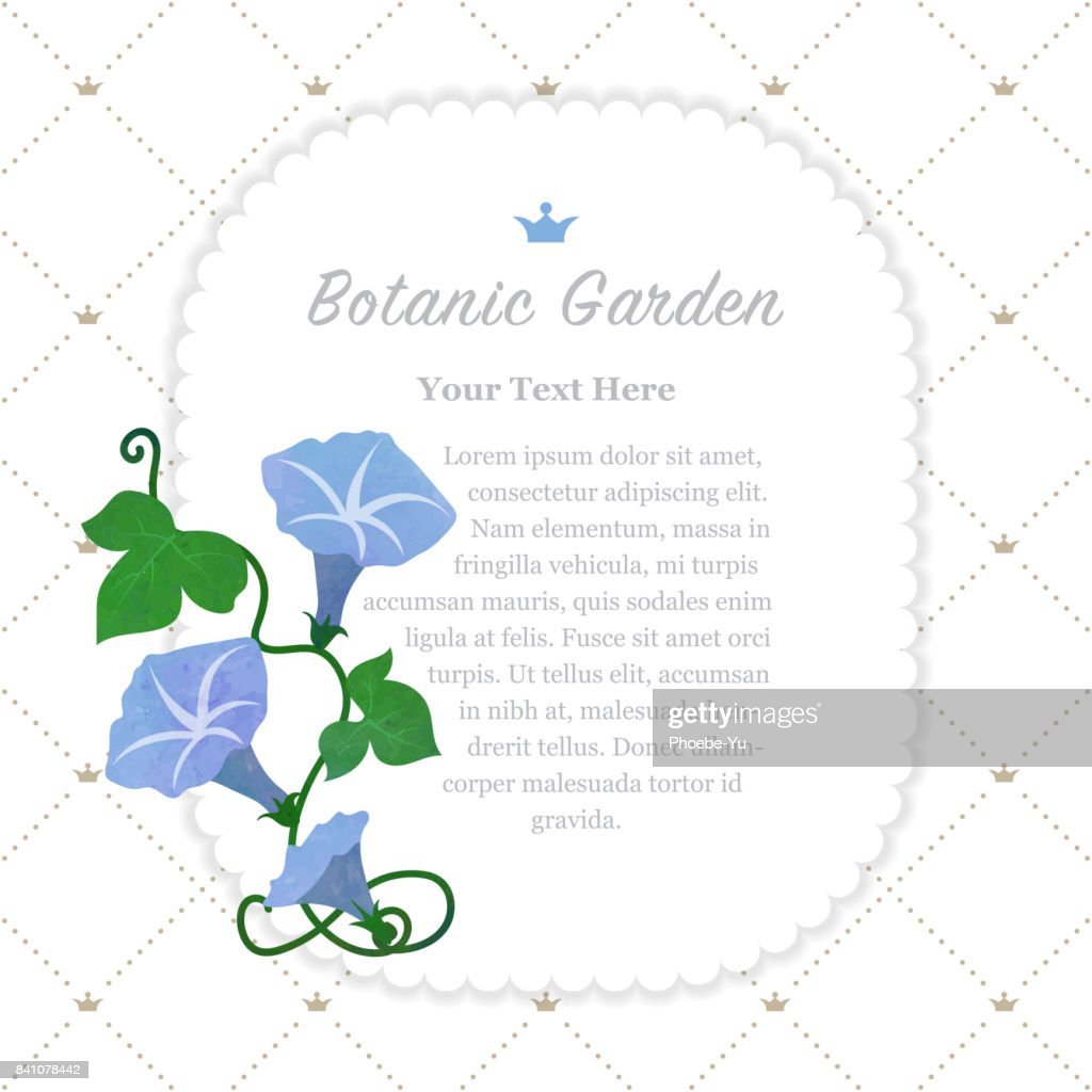 Colorful watercolor texture vector nature botanic garden memo frame light blue morning glory