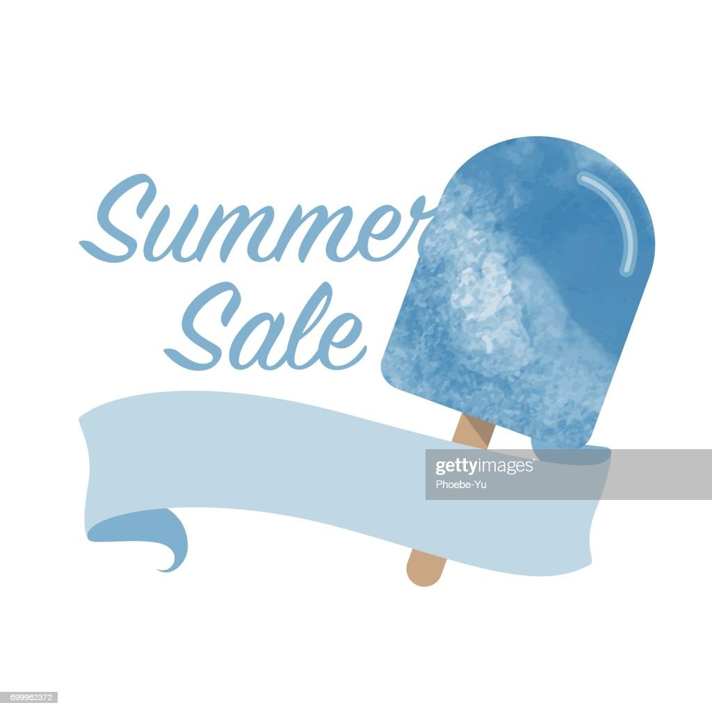 Colorful Watercolor Texture Vector Popsicle Summer Sale Promotion ...