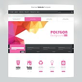 Colorful Website Template with Polygon Background. Professional Vector Design.