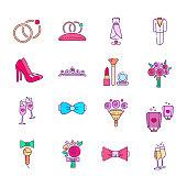 Colorful wedding icons set.