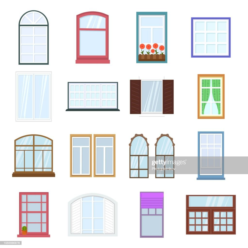 Colorful windows set. Collection of house construction. Interior windows of various forms in flat style. Architecture design outdoor or exterior view, building and home theme. Vector Illustration
