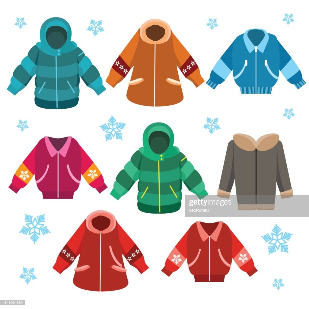 Colorful winter jackets set