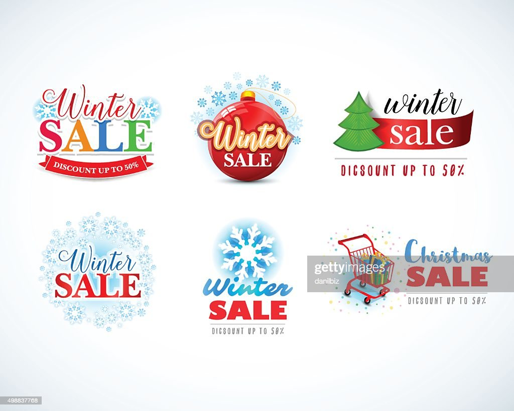 Colorful Winter sale emblems, logo, badges design set. Christmas sale.
