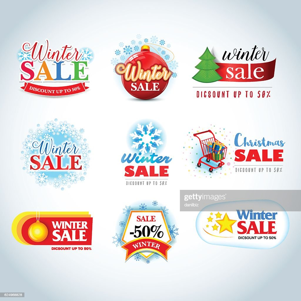 Colorful Winter Sale emblems, logotypes, badges collection.